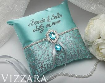 Ring bearer pillows Wedding mint Ring bearer pillow box Minted wedding Personalized ring bearer pillow Mint and grey wedding