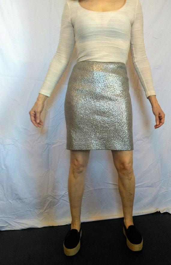 Incredible vintage Jil Sander silver sequined skirt second skin snake body con 3k original price