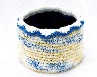 Crochet Bowl Basket in Yellow, Blue and White Fabric Lined Scalloped Edge