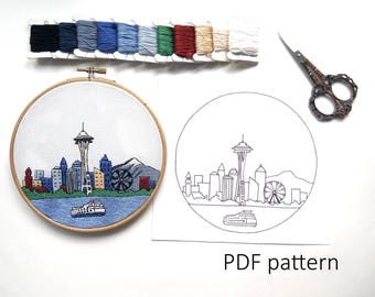 Seattle Hand Embroidery pattern PDF. Embroidery Hoop art, Hand Embroidery, Wall Decor, Housewarming Gift. Free Hand embroidery guide!
