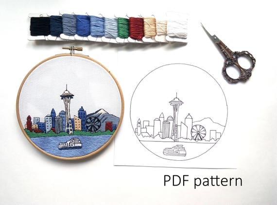 Seattle Hand Embroidery Pattern Pdf Embroidery Hoop Art Hand