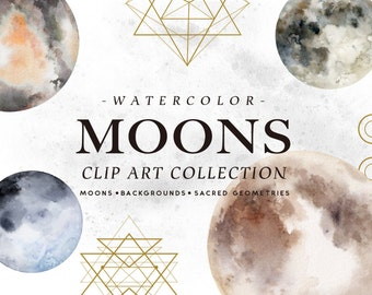 Watercolor Moons + Bonus/space/galaxy