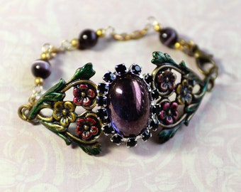 Purple Stone Cuff Bracelet, Floral Bracelet, Flower Jewelry, Hand Painted Brass, Vintage Style Filigree Jewelry, Small Floral Cuff, SRAJD