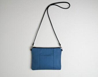 Handmade Tiny Purse in Blue - Small Canvas Cross body Bag - Cornflower Blue Purse Handmade with Leather Strap