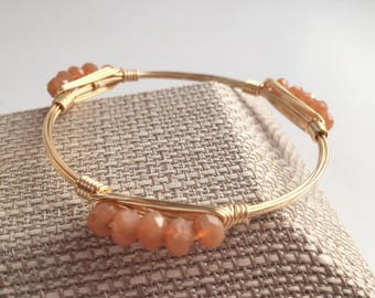 Peach Crystal Rondelle Wire Wrap Bangle, Wire Wrap Bangle, Wire Wrapped Bangle, Wire Bangle, Wire Wrap Bracelet, Wire Wrapped Bracelet