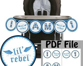 Lil Rebel highchair Banner boy high chair banner Lil Rebel high chair boy 1st year Lil Rebel Banner little man banner  DIY Printable PDF