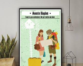 Moonrise Kingdom Minimalist alternative poster, camp Ivanhoe, wes anderson décor, khaki scout, wes anderson poster, wes anderson art