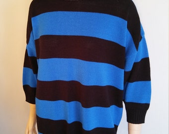 80's Women's Sweater Geo Colorblock Black Blue Striped Punk New Wave Vintage by HI-OCTANE One Size