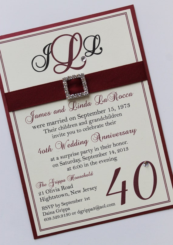 Ruby 40th wedding anniversary invitation stopboris Images