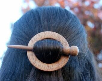 African Mahogany Wooden Shawl Pin or Hair Stick