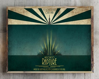 Bioshock Welcome To Rapture No Gods Or Kings Only Man Video Game Minimal Poster