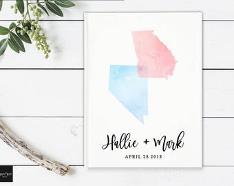 State to State Guest Book, Long Distance Wedding Guest Book, Two State Guestbook, Watercolor State Guest Book, Hardcover State Shower Book