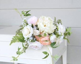 Garden Style Silk Flower Wedding Bouquet | Cream, Light Peach, White and Greenery | Faux Flowers Keepsake Bridal Bouquet | SG-1047