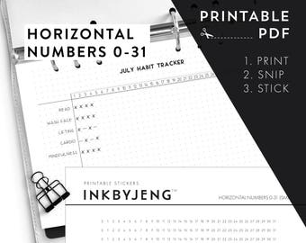 Printable PDF - Horizontal Numbers 0-31 / time habit trackers time ladders | Fits 5mm Grid | Print & Stick | Printable Stickers for Planners