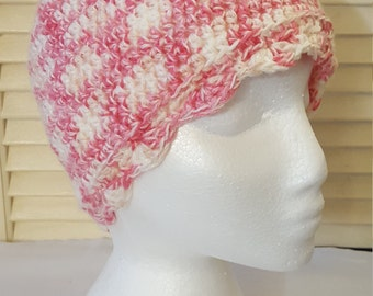 Womens Crochet Hat With Scallop Trim/ Pink And Cream/ Adult/Teen Size Crocheted Skull Cap/ Handmade Accessories