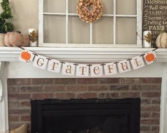 Thanksgiving Decor • Fall Decor • Thanksgiving Banner • Fall Banner • Grateful Banner • Fall Decorations • pumpkins • Home Decor • Garland