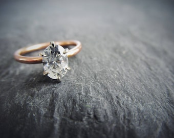 Oval Forever One Colorless Moissanite 6 Prong Rose Gold Hammered Band Alternative Engagement Ring. Delicate. Classic. Made To Order.