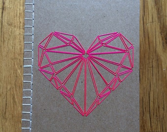 Hand embroidered notebook, Heart pattern