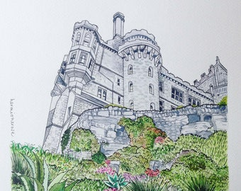 Castle from the gardens, St Michaels Mount, Cornwall A4 Print