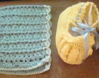Cute Vintage Baby Bonnet and Shoes