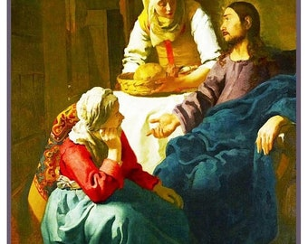 GREAT SALE Christ in the House of Martha and Mary inspired by Dutch Artist Johannes Vermeer Counted Cross Stitch Chart
