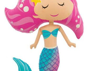"45"" Mermaid Balloon  / big balloon/ birthday banner/ birthday balloon/ jumbo balloon/baby shower/gender/ mermaid party/ mermaid birthday"