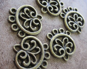 10 Antiqued Brass Pewter Drops, 16x13mm Filigree Circle, 4 loops - JD16