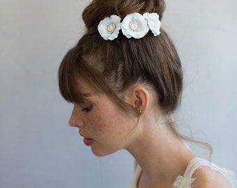 Bridal clay flower hair pins - Charming poppy blossom pins - Style 757 - Made to Order