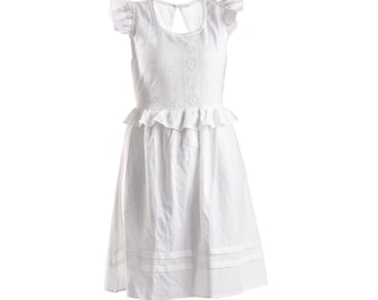 Summer midi dress, in white color with embroidery chest, open back and frills at the sleeves and the waist.