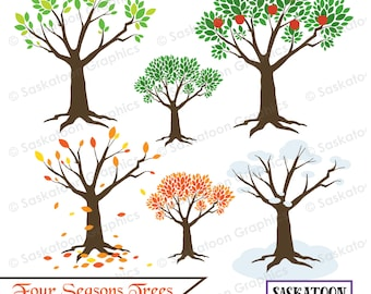 Four Seasons Tree Nature Clipart - Instant Download File - Digital Graphics - Cute - Crafts, Parties - Commercial & Personal Use - #N006