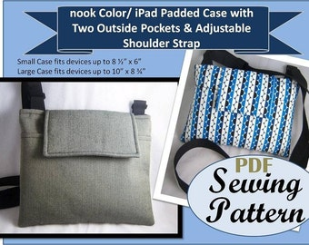 Large & Small eReader PDF Sewing Pattern for Padded Hipster Bag -iPads, iPad Mini, Kindle Fire, and More