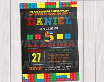 Building Blocks Invitation, Chalkboard, Colorful Blocks Birthday Party Invitation,Invite Card, Personalized invitation