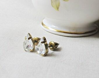 Crystal Clear Swarovski Earrings - Ear Studs Vintage Teardrop Pear - Jewelry For Women Jewellery - Small April Birthstone dspdavey