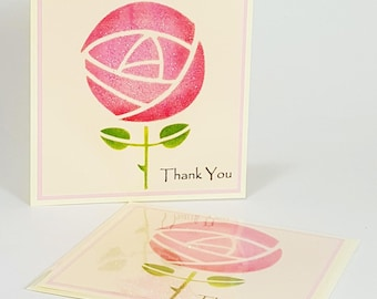 Hand Painted & Handmade Greeting Card : Thank You Rose (15cm x 15cm)