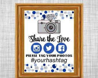 Printable and Editable Wedding Hashtag Sign, Blue Dots & Diamonds - Twitter, Instagram, Facebook Printable Sign - Bridal Shower DD79-BL