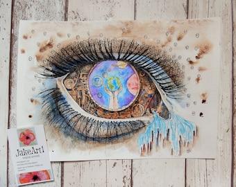 Steampunk eye, fantasy eye, space eye, eye art, steampunk eye art, fantasy eye art, gift for him, home decor, free postage, steampunk art