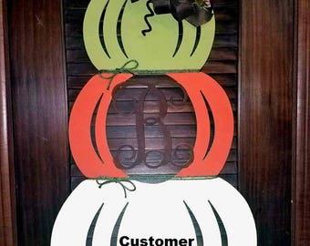 UNFINISHED Custom Monogram Stacked Pumpkins Fall Door Decor Hanger