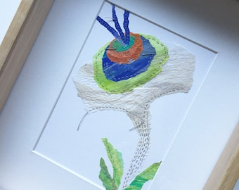 Floral art - Tropical flower. Original Hand painted & stitching on paper