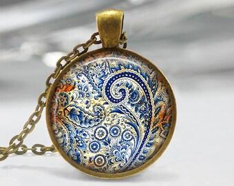 Paisley Art Pendant, Abstract Art Pendant ,Blue Paisley Art Necklace, Abstract Art Jewelry, Paisley Glass Pendant, Bronze, Silver, 1282
