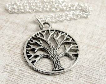 Tree of Life Necklace, Silver Plated Tree of Life Charm on a Silver Cable Chain