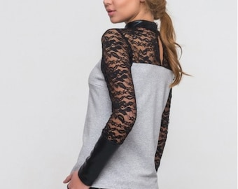 Lace blouse Combined woman blouse Eco leather contrast  Gray Black blouse Stand Collar Autumn blouse