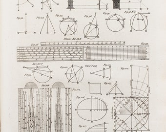 1786 Antique Mathematical Print , Georgian Copper Plate Engraving, Black and White. Geometry, Angles, Mathematics