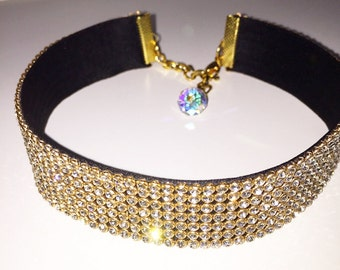 Gold clear crystal choker, Diamond choker jewelry, Jewellery, Rhinestone choker, Gold Crystal Choker, Gem choker, Arianda Grande,