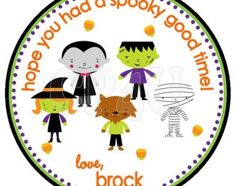 Halloween Characters Custom Favor Tag or Trick or Treat Bag