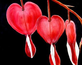 Bleeding Hearts Print, Bleeding Hearts Art, Red Home Decor, Red Wall Decor, Red Flower Print, Lyre Flower, Old Fashioned Flower Art