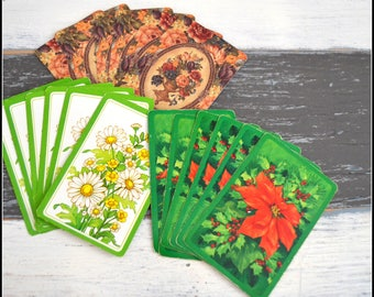 Vintage Playing Card Grouping - Lot of Vintage Cards - Playing Cards - Card Swap - Flower Cards   (#F2)