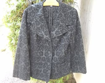 Black and Smoke Velvety Tapestry Brocade Jacket/ Blazer by J. Jill in size 8. Beautiful cut and gorgeous designer buttons