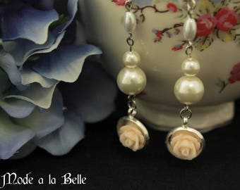 Ivory Rose Dangle Earrings Silver Tone w/ Pearls