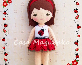 PDF Pattern - Ladybug Doll Felt Pattern - Doll Sewing Pattern - Felt Ladybug Doll DIY - Felt Doll Hand Sewing Pattern - Instant Download -