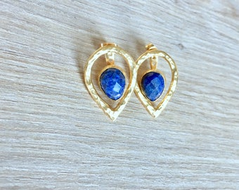 Lapis lazuli earrings, gold ear jacket, two part earrings, teardrop earrings, blue earrings, split earrings, blue jewelry, for her, sapphire